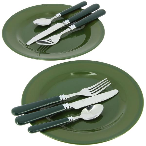 Tūrisma galda piederumu komplekts zaļš /camo