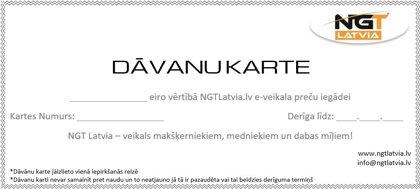 NGT Latvia dāvanu karte ar papildus atlaidi