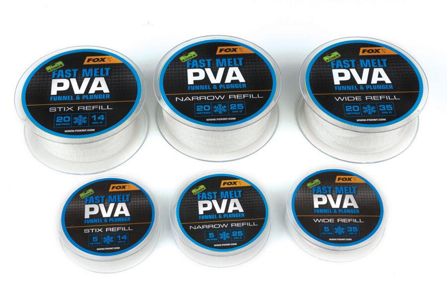 Fox Ātri šķīstošie PVA rezerves maisiņi, Fast melt PVA funnel&plunger STIX Refill